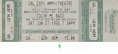 Color Me Badd 1990s Ticket from Cal Expo Amphitheater on 27 Jun 92: Ticket One