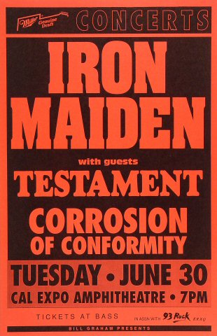 "Iron Maiden Poster from Cal Expo Amphitheater on 30 Jun 92: 11"" x 17"""