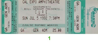 The Cure 1990s Ticket from Cal Expo Amphitheater on 05 Jul 92: Ticket One