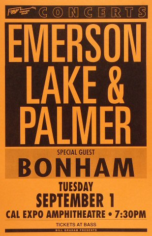 "Emerson, Lake & Palmer Poster from Cal Expo Amphitheater on 01 Sep 92: 11"" x 17"""