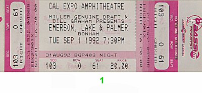 Emerson, Lake & Palmer 1990s Ticket from Cal Expo Amphitheater on 01 Sep 92: Ticket One