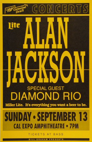 "Alan Jackson Poster from Cal Expo Amphitheater on 13 Sep 92: 11"" x 17"""