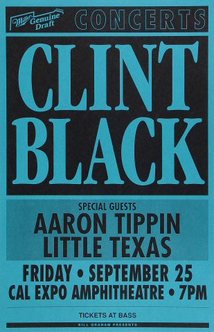 "Clint Black Poster from Cal Expo Amphitheater on 25 Sep 92: 11"" x 17"""