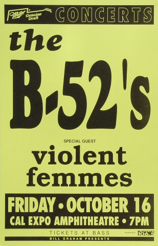 "The B-52's Poster from Cal Expo Amphitheater on 16 Oct 92: 11"" x 17"""