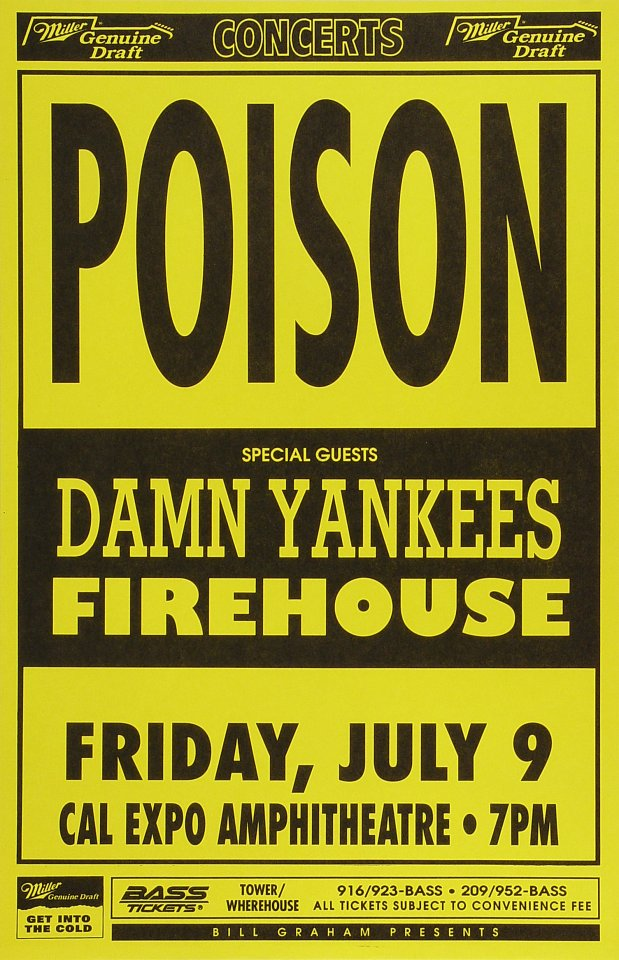 "Poison Poster from Cal Expo Amphitheater on 09 Jul 93: 11"" x 17"""