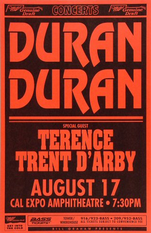 "Duran Duran Poster from Cal Expo Amphitheater on 17 Aug 93: 11"" x 17"""