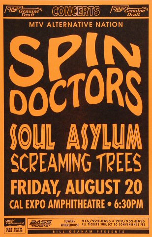 "Spin Doctors Poster from Cal Expo Amphitheater on 20 Aug 93: 11"" x 17"""
