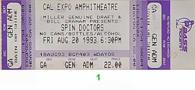 Spin Doctors 1990s Ticket from Cal Expo Amphitheater on 20 Aug 93: Ticket One