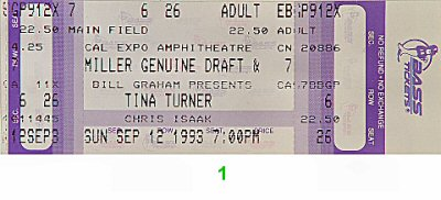 Tina Turner 1990s Ticket from Cal Expo Amphitheater on 12 Sep 93: Ticket One