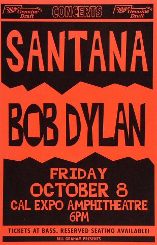 "Santana Poster from Cal Expo Amphitheater on 08 Oct 93: 11"" x 17"""
