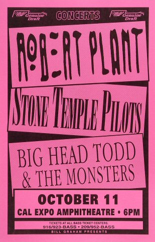 "Robert Plant Poster from Cal Expo Amphitheater on 11 Oct 93: 11"" x 17"""