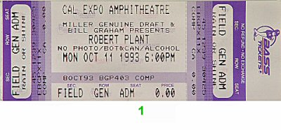 Robert Plant 1990s Ticket from Cal Expo Amphitheater on 11 Oct 93: Ticket One