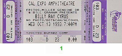 Billy Ray Cyrus 1990s Ticket from Cal Expo Amphitheater on 13 Oct 93: Ticket One