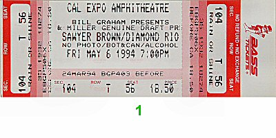 Sawyer Brown 1990s Ticket from Cal Expo Amphitheater on 06 May 94: Ticket One