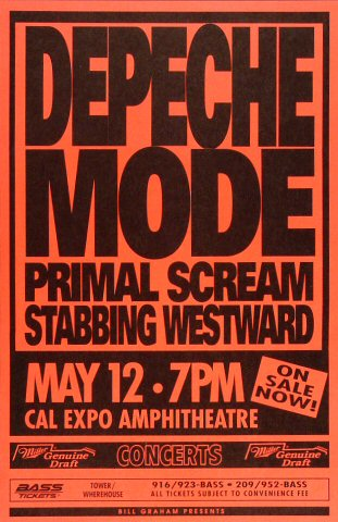 "Depeche Mode Poster from Cal Expo Amphitheater on 12 May 94: 11"" x 17"""