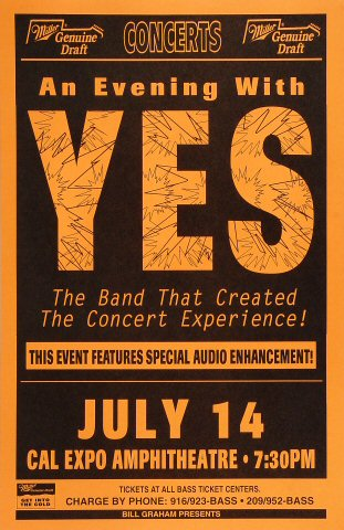 "Yes Poster from Cal Expo Amphitheater on 14 Jul 94: 11"" x 17"""