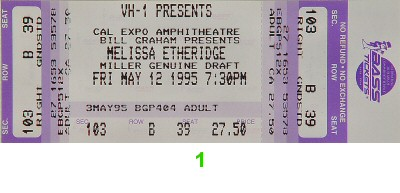 Melissa Etheridge 1990s Ticket from Cal Expo Amphitheater on 12 May 95: Ticket One