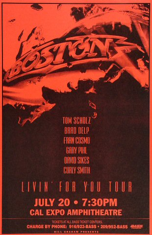 "Boston Poster from Cal Expo Amphitheater on 20 Jul 95: 11"" x 17"""