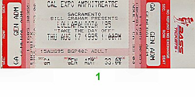 Sonic Youth 1990s Ticket from Cal Expo Amphitheater on 17 Aug 95: Ticket One
