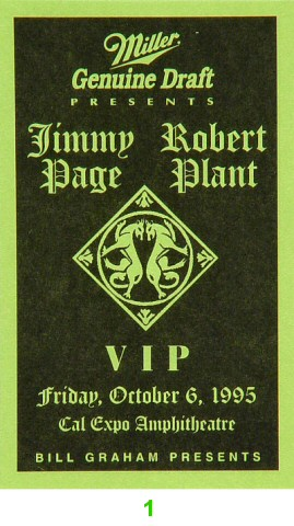 Jimmy Page Laminate from Cal Expo Amphitheater on 06 Oct 95: Laminate 1