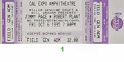 Jimmy Page 1990s Ticket from Cal Expo Amphitheater on 06 Oct 95: Ticket One
