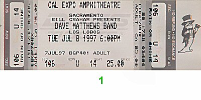 Dave Matthews Band 1990s Ticket from Cal Expo Amphitheater on 08 Jul 97: Ticket One