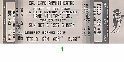 Hank Williams Jr. 1990s Ticket from Cal Expo Amphitheater on 05 Oct 97: Ticket One