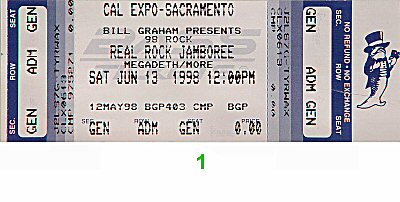 Megadeth 1990s Ticket from Cal Expo Amphitheater on 13 Jun 98: Ticket One