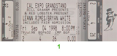 Leann Rimes 1990s Ticket from Cal Expo Amphitheater on 04 Sep 98: Ticket One