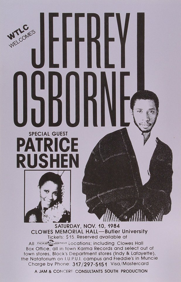 "Jeffrey Osborne Poster from Clowes Memorial Hall at Bulter University on 10 Nov 84: 11"" x 17"""