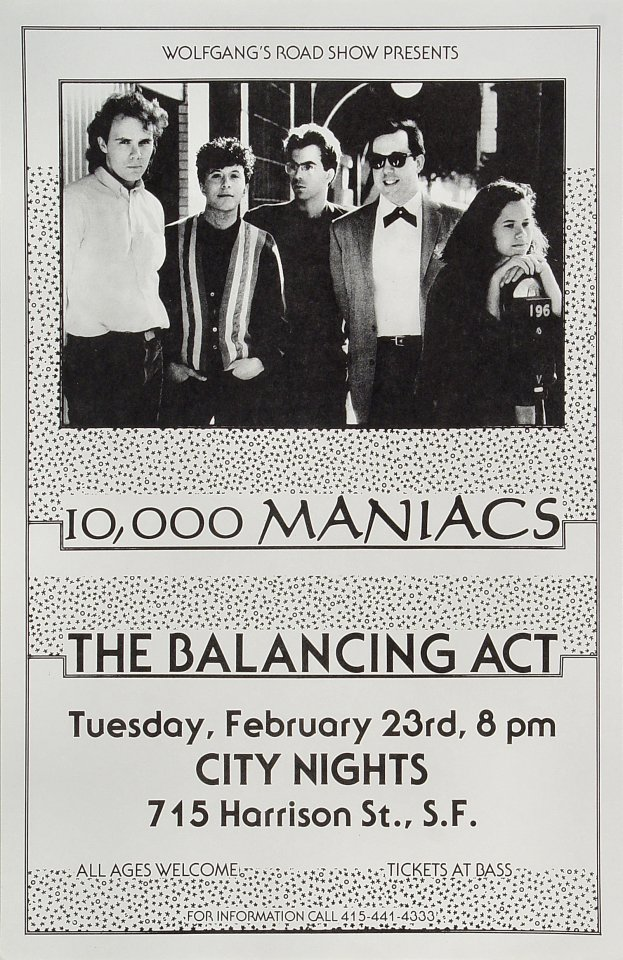 "10,000 Maniacs Poster from City Nights on 23 Feb 88: 11"" x 17"""