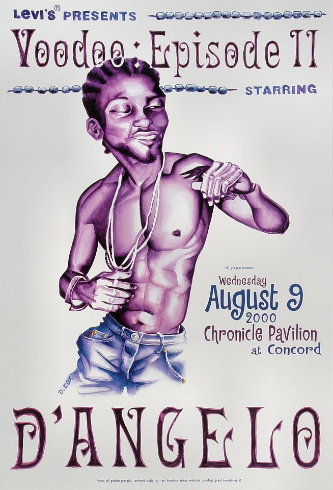 "D'Angelo Poster from Chronicle Pavilion on 09 Aug 00: 13"" x 19"""