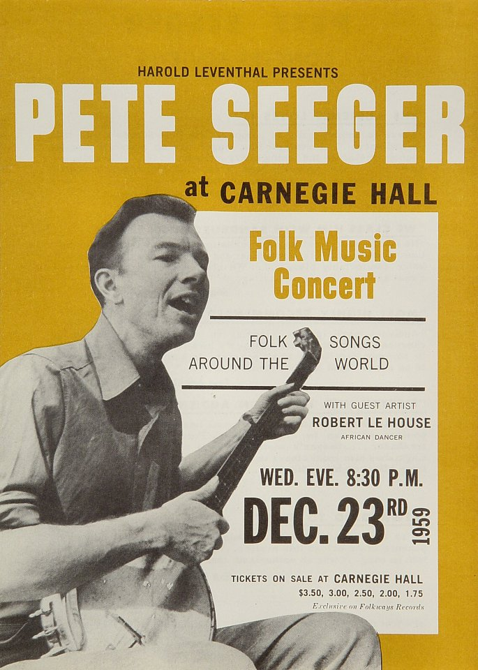 "Pete Seeger Handbill from Carnegie Hall on 23 Dec 59: 6 3/4"" x 9 1/2"""