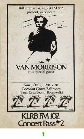 Van Morrison Backstage Pass from Coconut Grove on 01 Oct 78: Pass 1