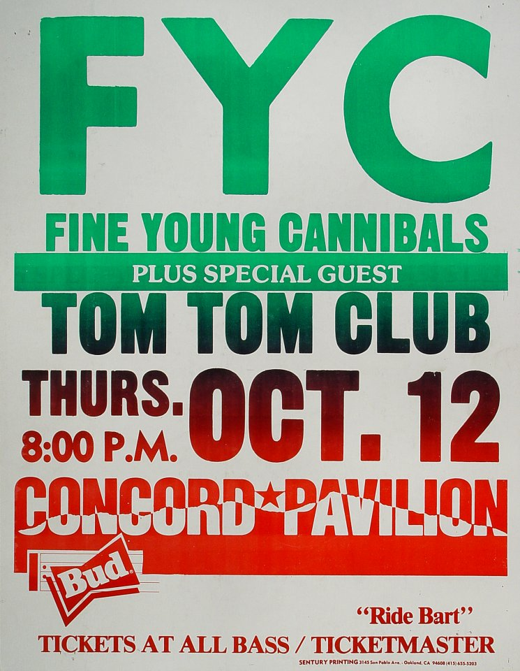 "Fine Young Cannibals Poster from Concord Pavilion on 12 Oct 89: 17"" x 22"""