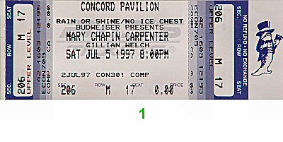 Mary Chapin Carpenter 1990s Ticket from Concord Pavilion on 05 Jul 97: Ticket One