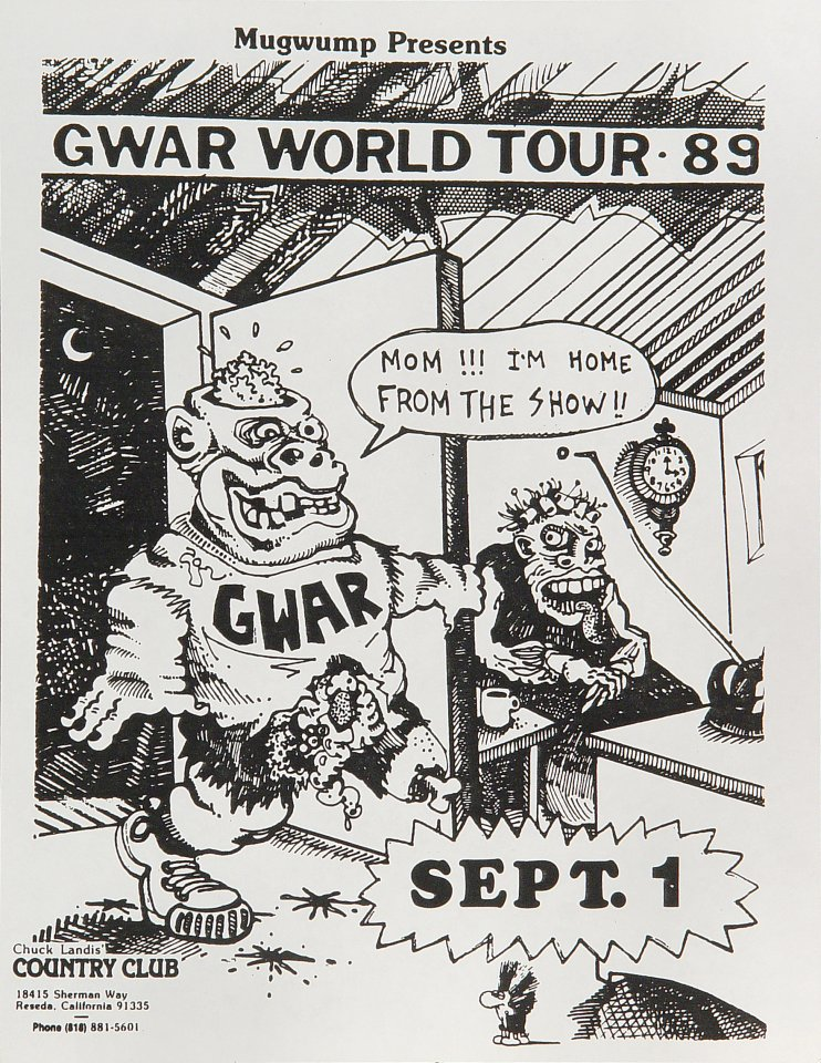 "GWAR Handbill from Country Club on 01 Sep 89: 8 1/2"" x 11"""