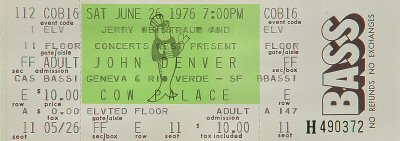 John Denver 1970s Ticket from Cow Palace on 26 Jun 76: Ticket One