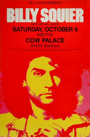 Billy Squier Poster from Cow Palace on 06 Oct 84: 14 1/2&quot; x 22&quot;