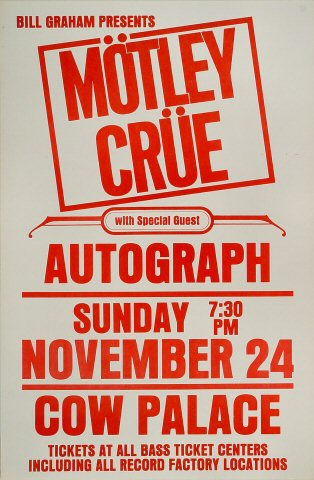 "Motley Crue Poster from Cow Palace on 24 Nov 85: 14 1/2"" x 22"""