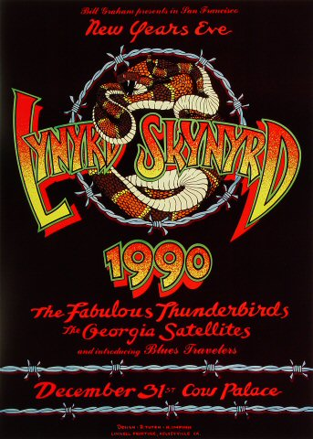 "Lynyrd Skynyrd Poster from Cow Palace on 31 Dec 89: 14 1/2"" x 20"""