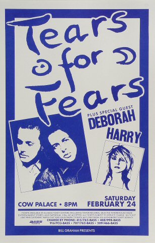 "Tears for Fears Poster from Cow Palace on 24 Feb 90: 11"" x 17"""