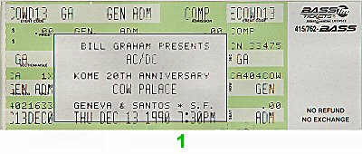 AC/DC 1990s Ticket from Cow Palace on 13 Dec 90: Ticket One