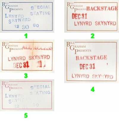 Lynyrd Skynyrd Backstage Pass from Cow Palace on 31 Dec 90: Pass 4