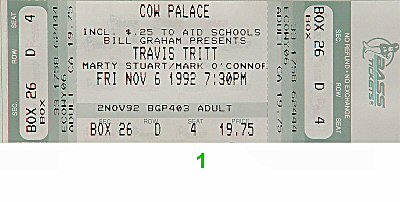 Travis Tritt 1990s Ticket from Cow Palace on 06 Nov 92: Ticket One