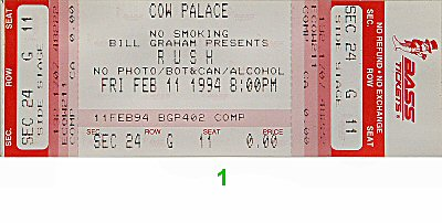 Rush 1990s Ticket from Cow Palace on 11 Feb 94: Ticket One