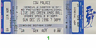 Beck 1990s Ticket from Cow Palace on 15 Dec 96: Ticket One