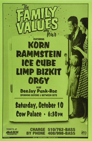 """Korn Poster from Cow Palace on 10 Oct 98: 11"""" x 17"""""""