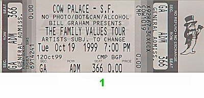Limp Bizkit 1990s Ticket from Cow Palace on 19 Oct 99: Ticket One