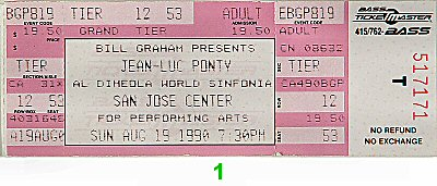 Jean-Luc Ponty 1990s Ticket from San Jose Center for the Performing Arts on 19 Aug 90: Ticket One
